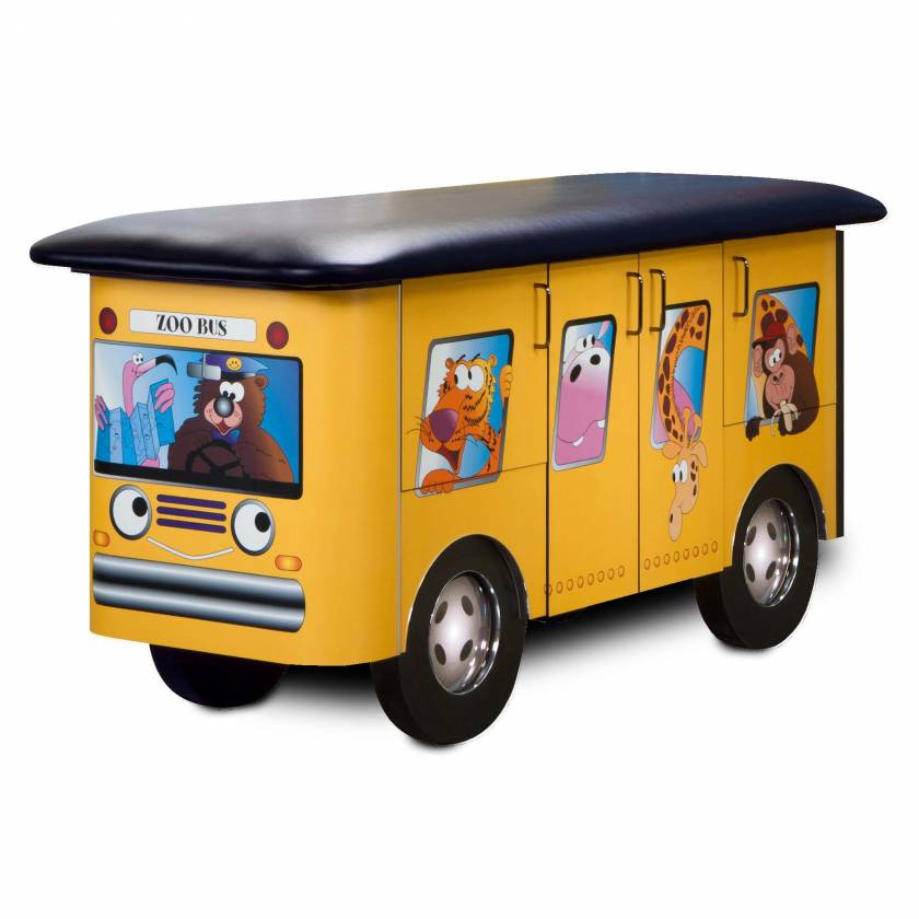 Clinton Model 7020 Fun Series Pediatric Treatment Table - Zoo Bus with Jungle Friends