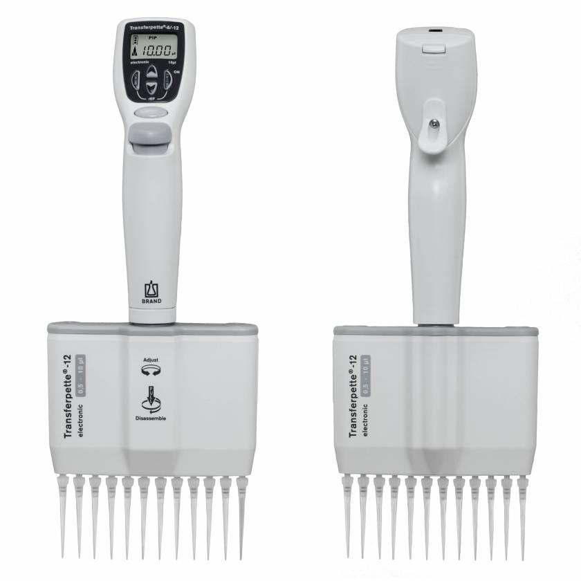 BrandTech Model 70549 Transferpette Electronic 12-Channel Pipette 0.5-10uL (SKU: 2705420)
