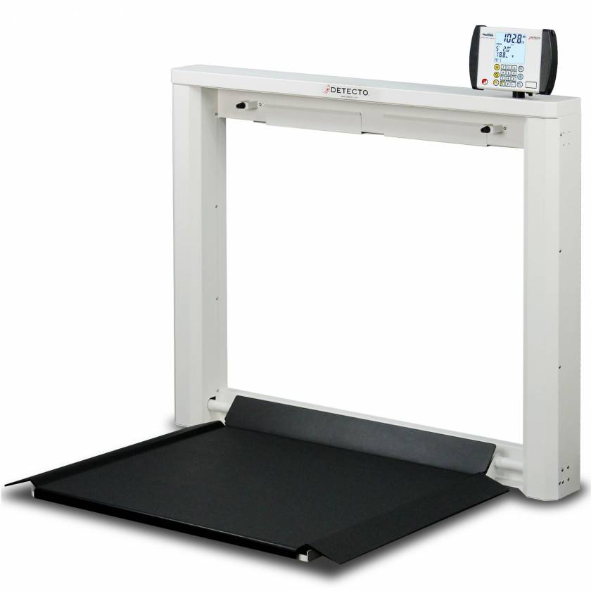 Detecto 7550 Wall Mount Fold-Down Platform Digital Wheelchair Scale 1000 lb Capacity