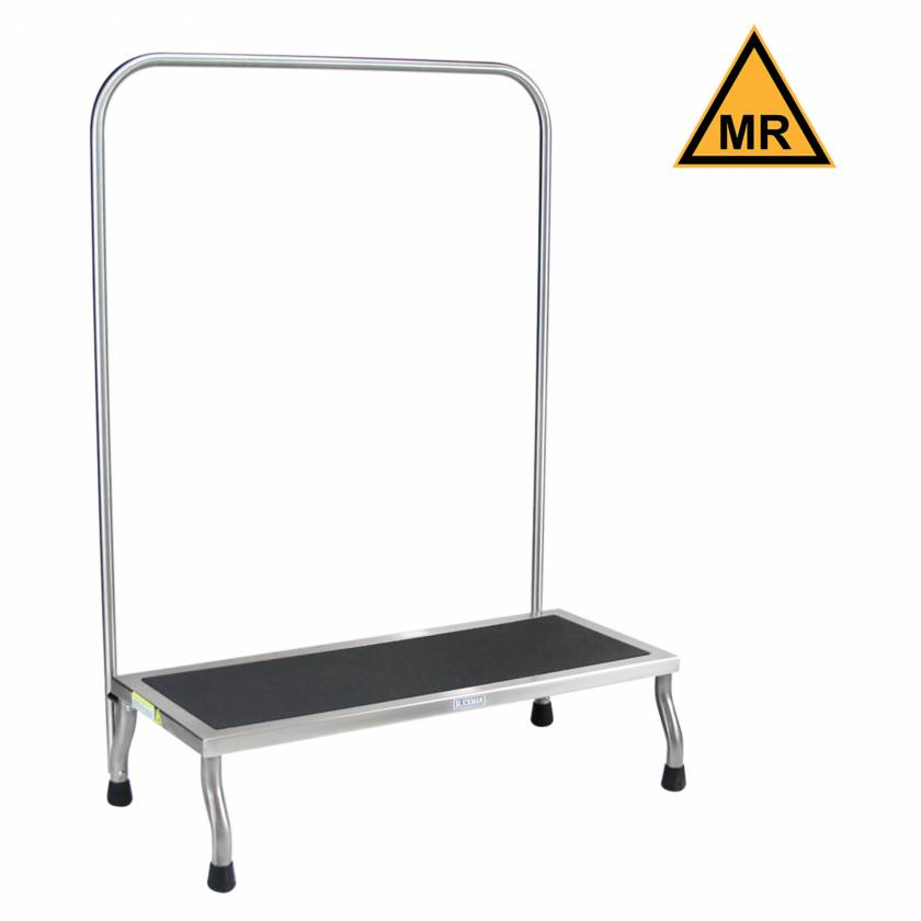 "Blickman Model 7761MR-HR Non-Magnetic Foot Stool with Handrail - 12"" D x 8"" H x 30"" W"