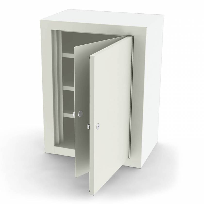 "Model 7780 Large Painted Steel Narcotic Cabinet, Double Door & Lock - 24"" H x 18.125"" W x 12.125"" D"