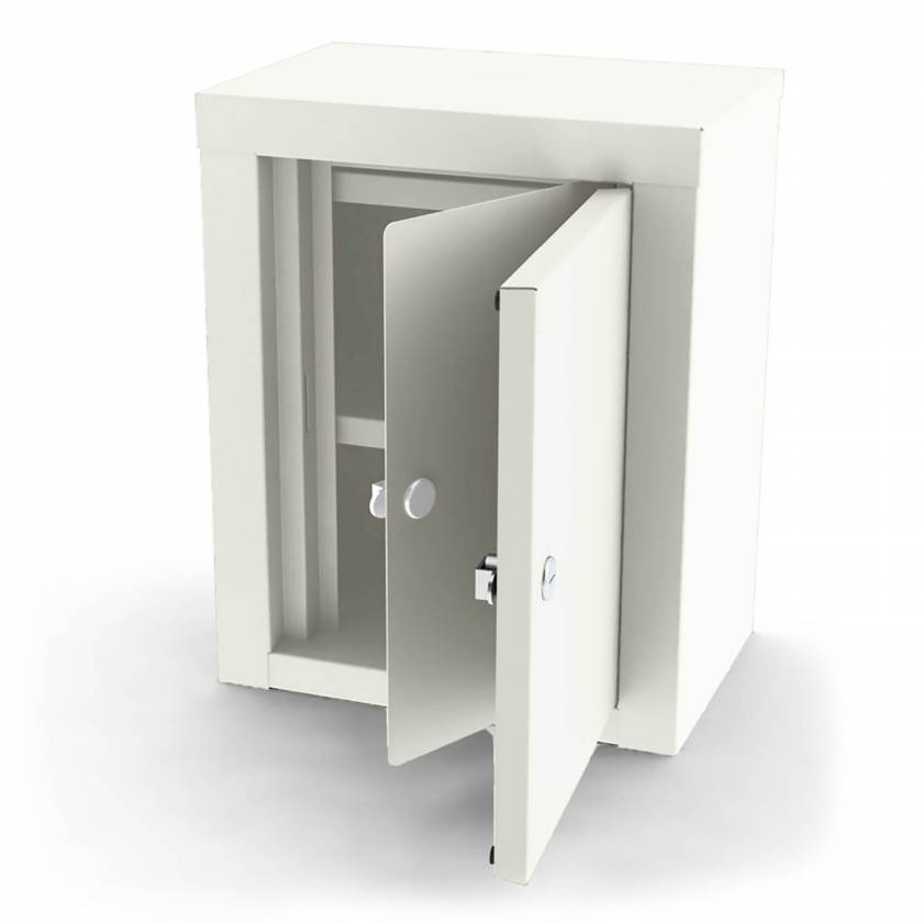 """Model 7781 Small Painted Steel Narcotic Cabinet, Double Door & Lock - 15"""" H x 12.125"""" W x 8.125"""" D"""
