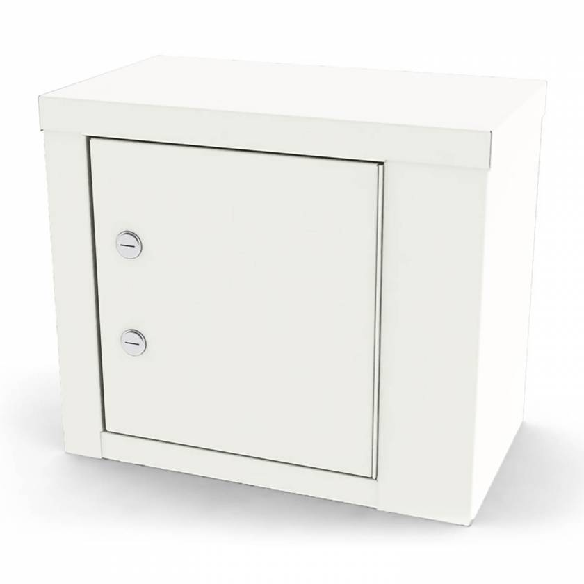 "Model 7787 Small Painted Steel Narcotic Cabinet, Single Door, Double Locks, One Shelf - 12"" H x 14.125"" W x 8.125"" D"