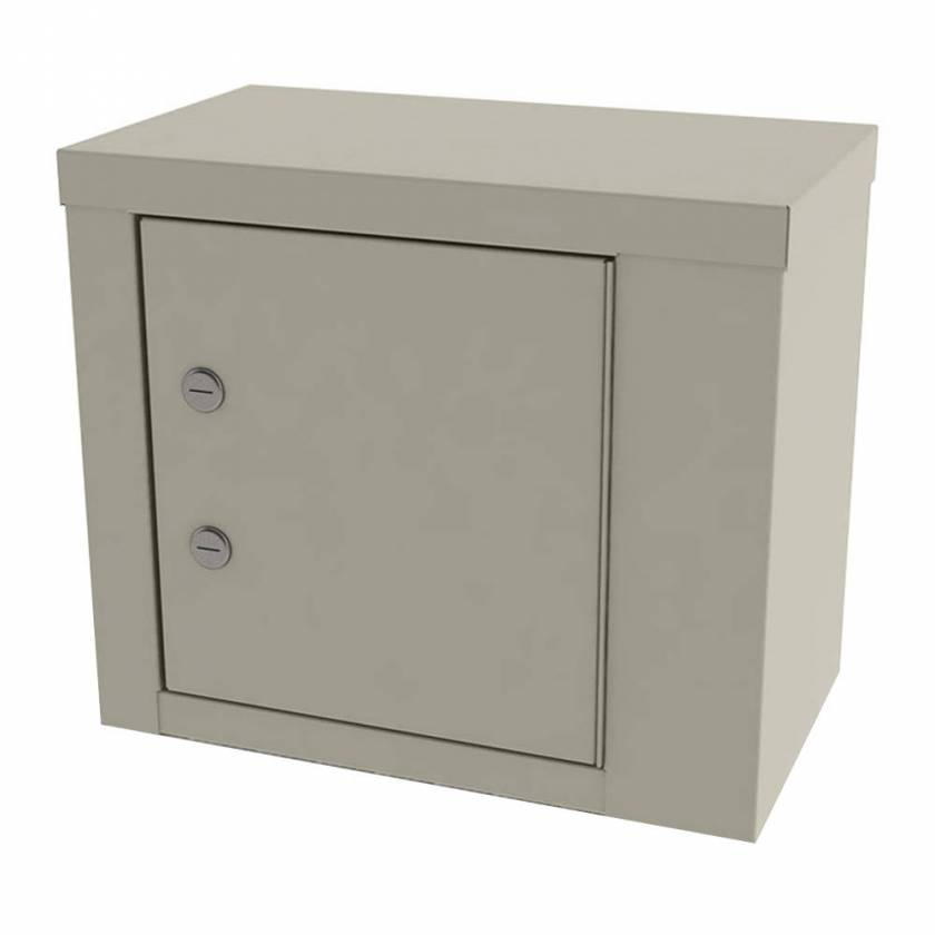 """Model 7787 Small Painted Steel Narcotic Cabinet, Single Door, Double Locks, One Shelf - 12"""" H x 14.125"""" W x 8.125"""" D"""