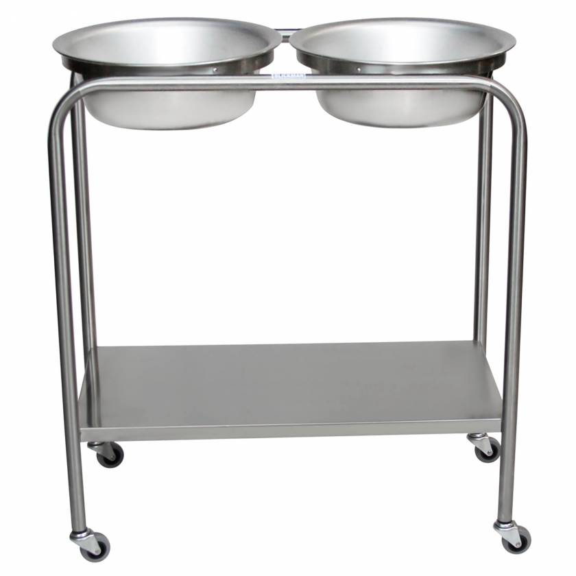 Blickman Model 7808SS Stainless Steel Solution Stand - Double Basin with Shelf