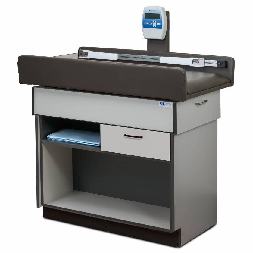 Clinton Model 7810 Select Series Pediatric Scale Treatment Table with One Drawer & Open Storage Shelf