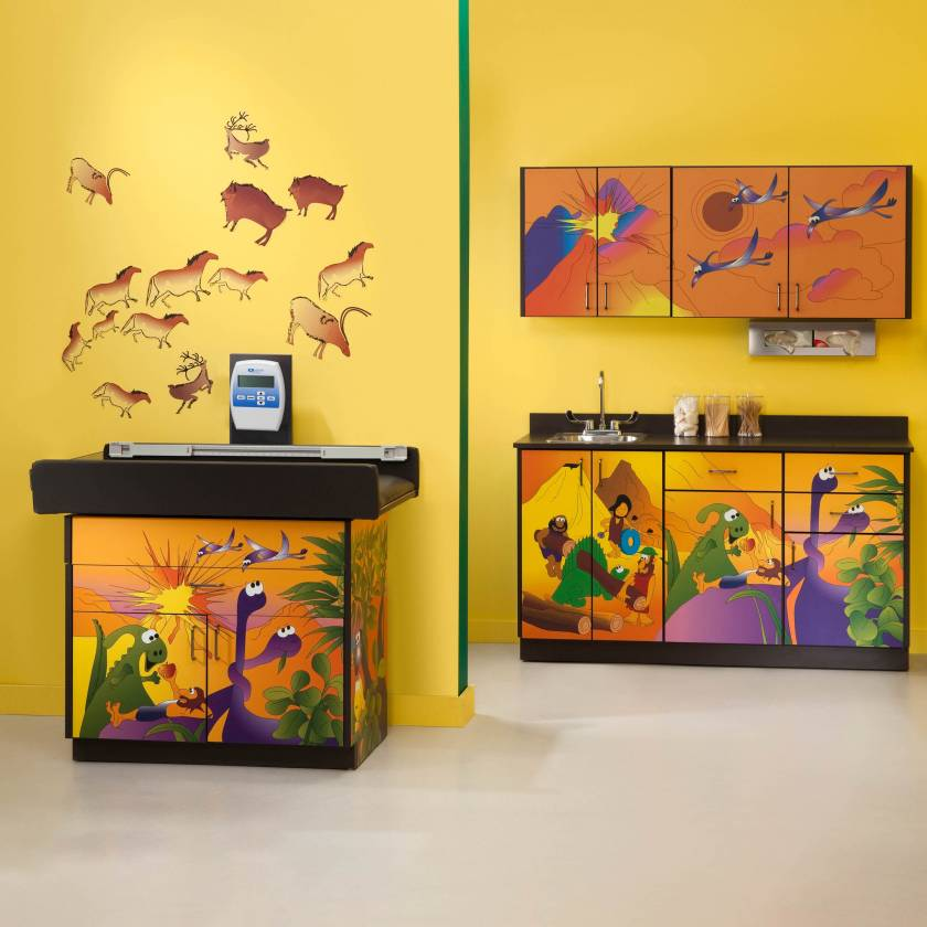 Clinton Complete Model 7834-X Dino Days Pediatric Scale Table & Cabinets