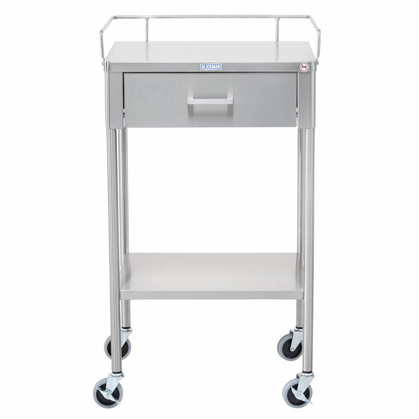Blickman Model 7850SS Stainless Steel Anesthesia Utility Table with Guard Rail and One Drawer