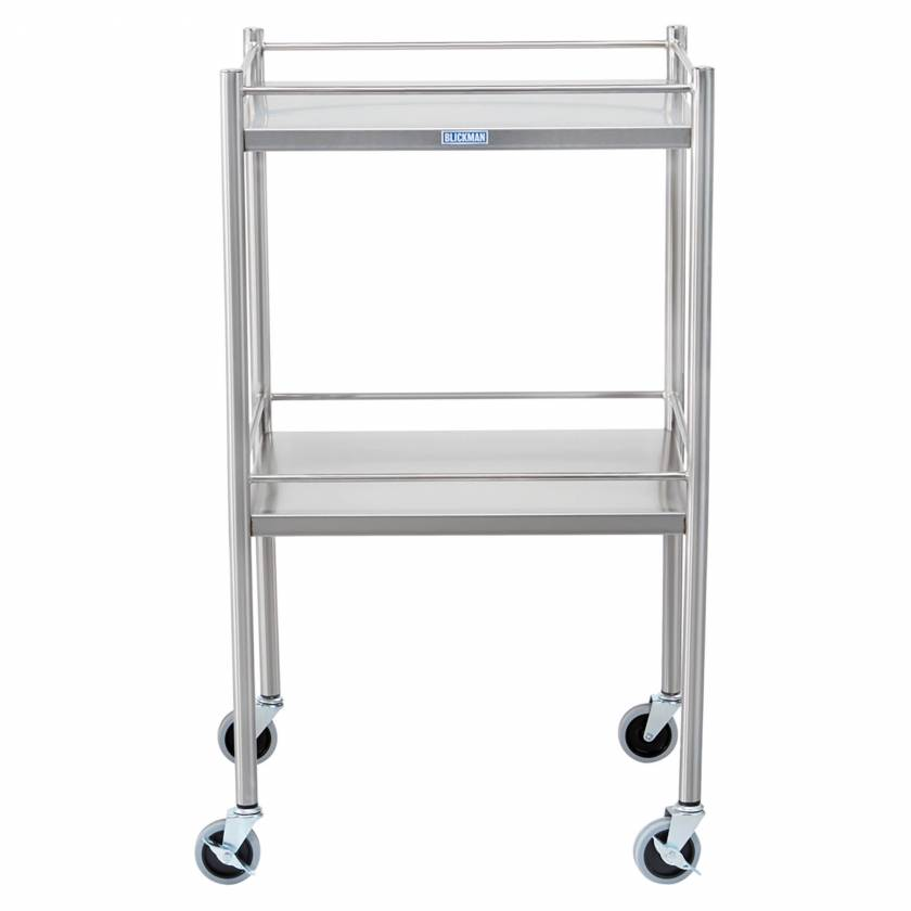 Blickman Model 7852SS Stainless Steel Utility Table with Four Sided Guard Rail and Two Shelves