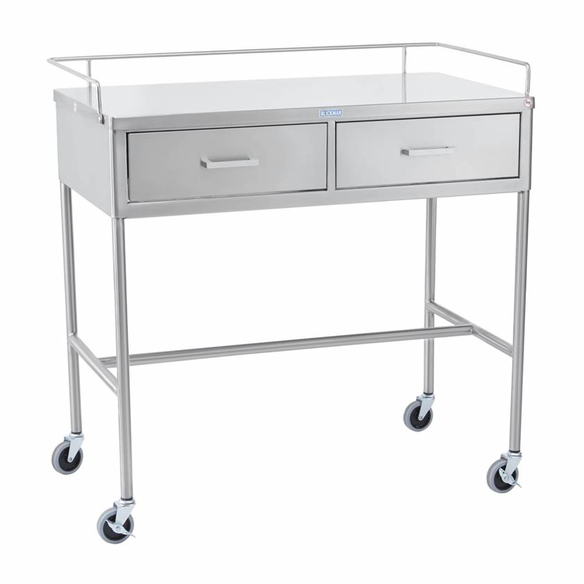Blickman Model 7856SS Stainless Steel Utility Table with H-Brace, Guard Rail and Two Side by Side Drawers