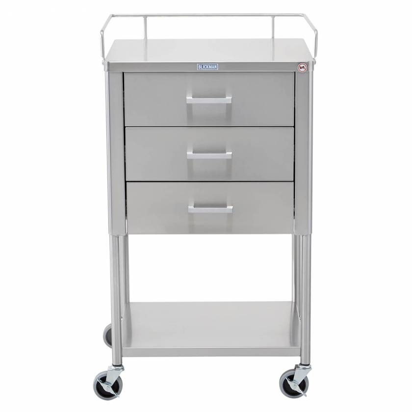 Blickman Model 7857SS Stainless Steel Anesthesia Utility Table with Guard Rail and Three Drawers