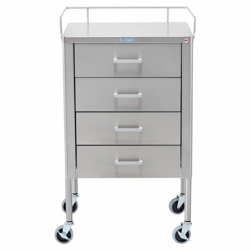 Blickman model 7859SS Stainless Steel Anesthesia Utility Table with Guard Rail and Four Drawers