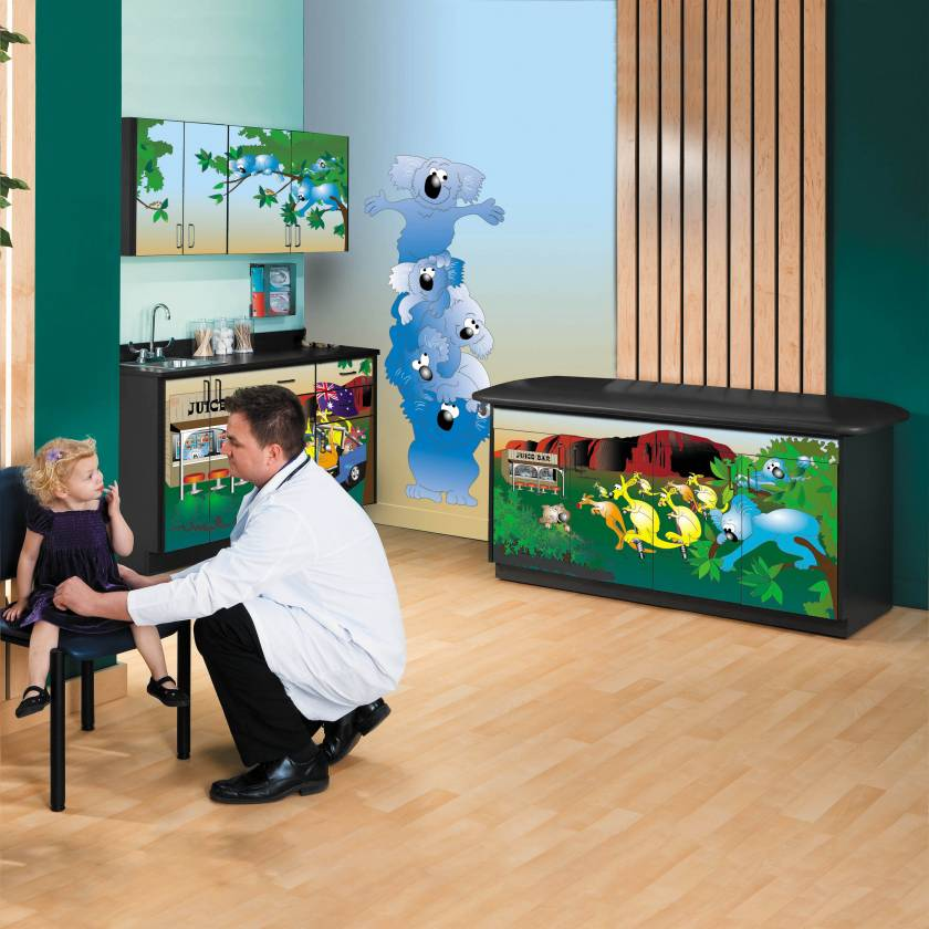 Clinton Complete Model 7953-1X Kangaroo Country Pediatric Treatment Table with Flat Top & Cabinets