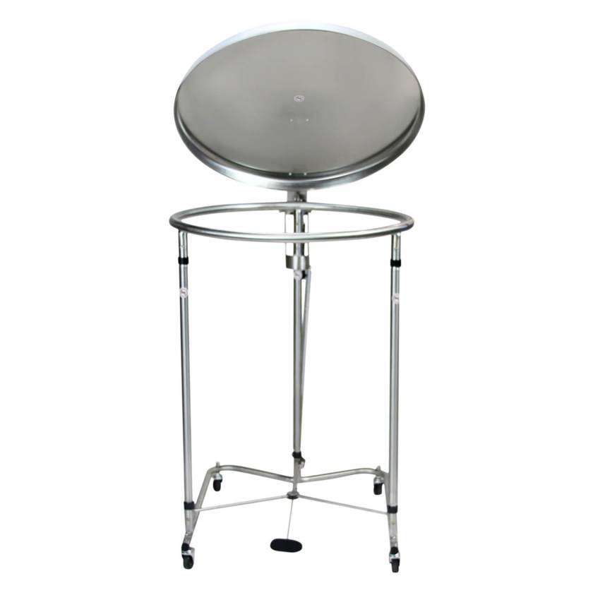 """Blickman Stainless Steel Foot-Operated 25"""" Diameter Round Hamper with Lid"""