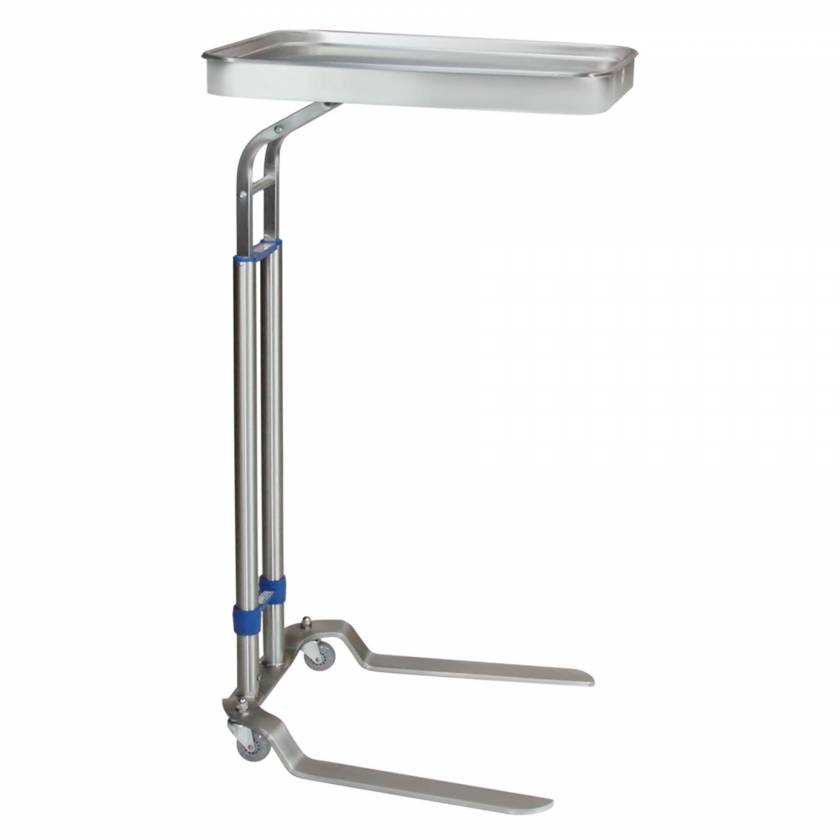 """Blickman Stainless Steel Benjamin Double Post Foot-Operated Mayo Stand - Tray Size 12 5/8"""" x 19 1/8"""""""