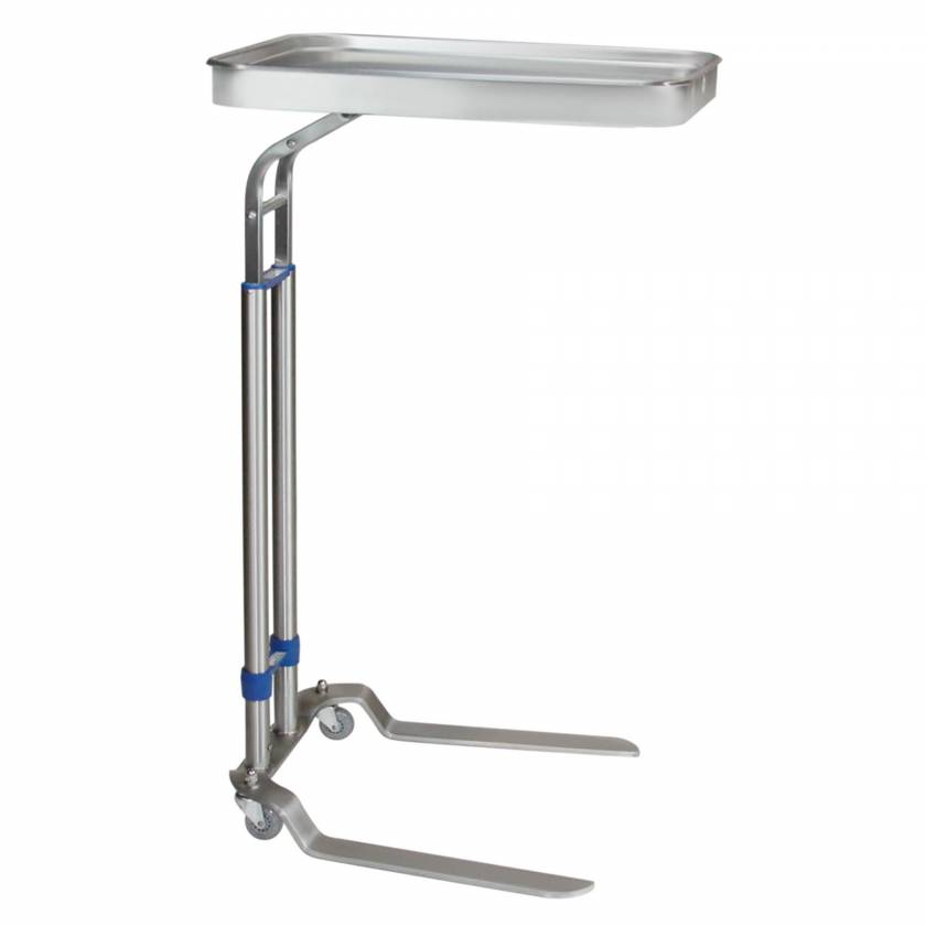 """Blickman Stainless Steel Benjamin Double Post Foot-Operated Mayo Stand - Tray Size 16"""" x 21"""""""