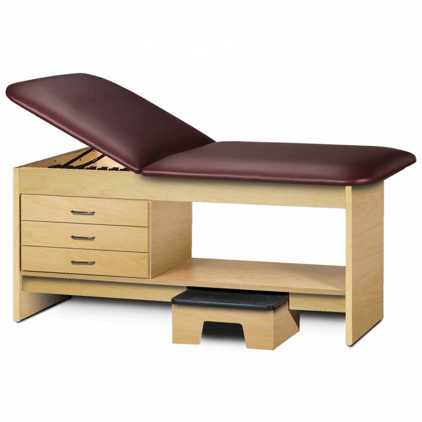 Clinton Model 9133 Treatment Table with Adjustable Backrest, Shelf, 3 Drawers & Stool