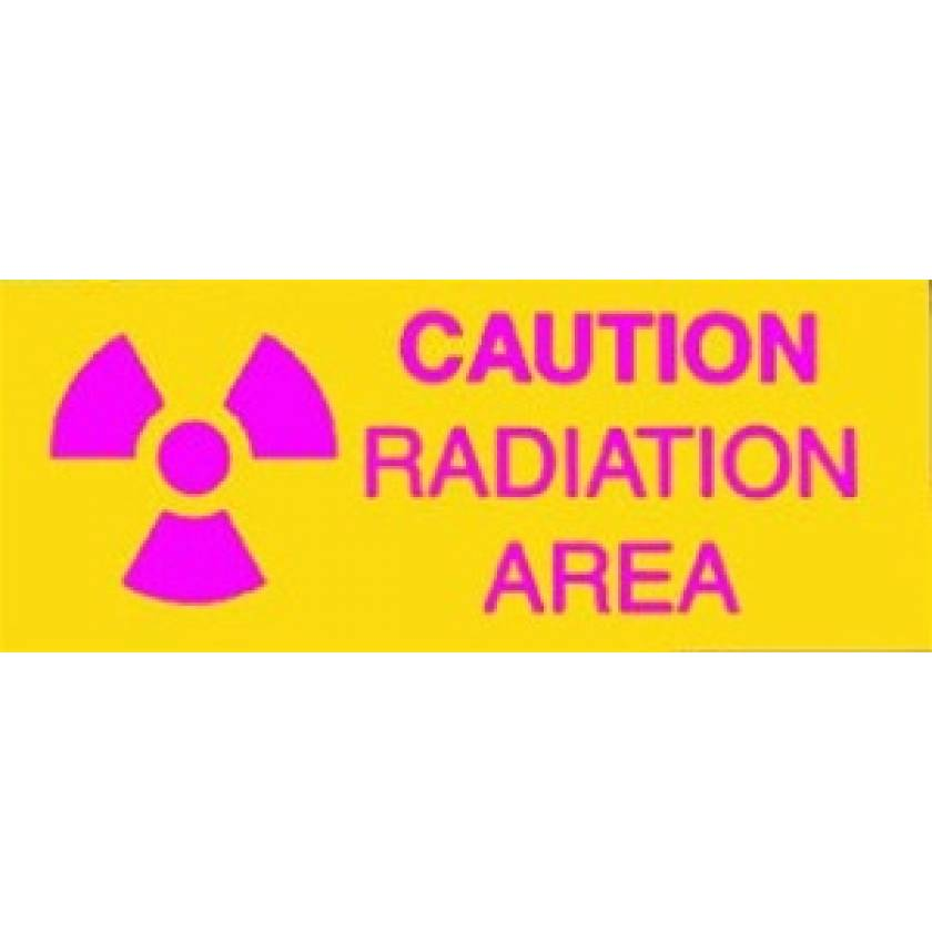 Silk Screened Sign Caution Radiation Area