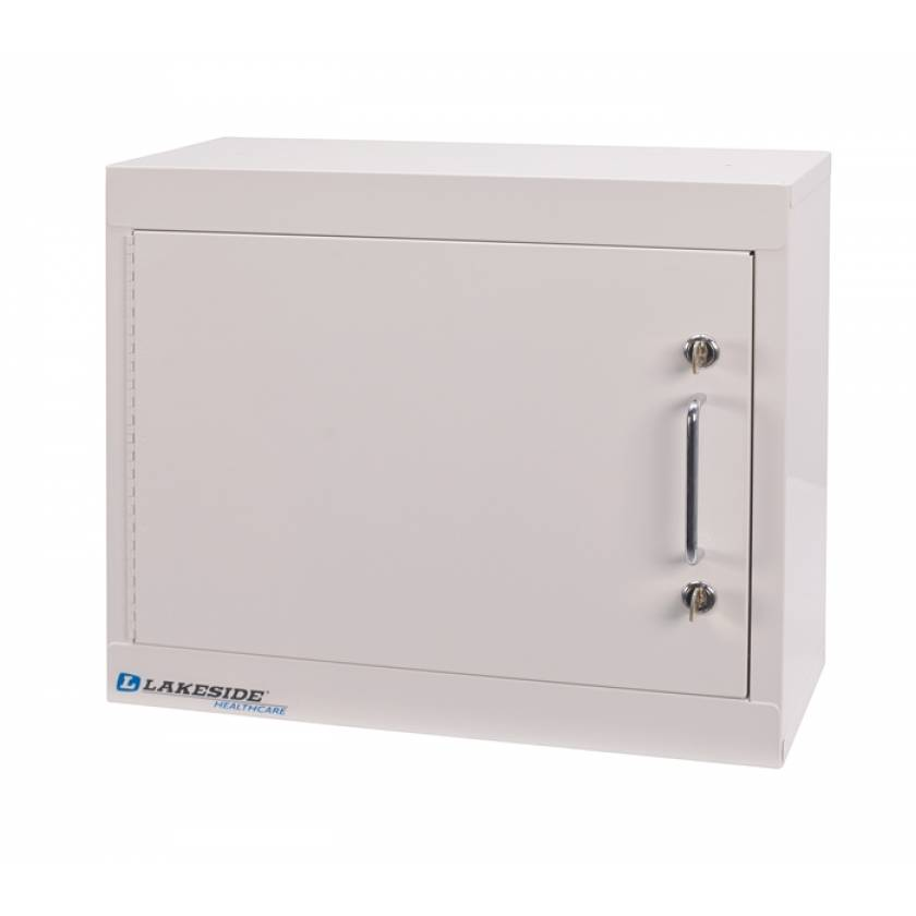 "Lakeside Narcotic Cabinet w/ Handle, One Shelf, Single Door, Double Lock - 15"" H x 18"" L x 8"" W"