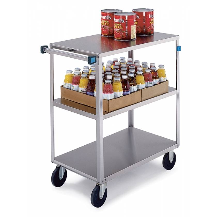 Lakeside SS Medium Duty Multi-Shelf Cart - All Edges Down - Front Leg Bumper - 3 Shelves