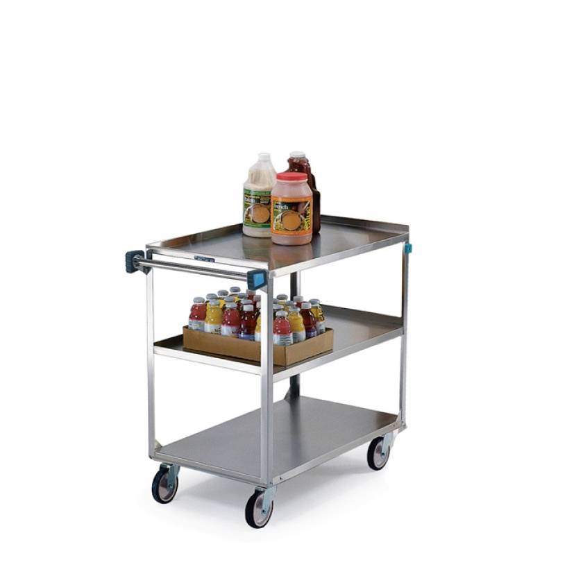 Lakeside SS Medium Duty Multi-Shelf Cart - 3 Edges Up 1 Down - Front Leg Bumper - 3 Shelves