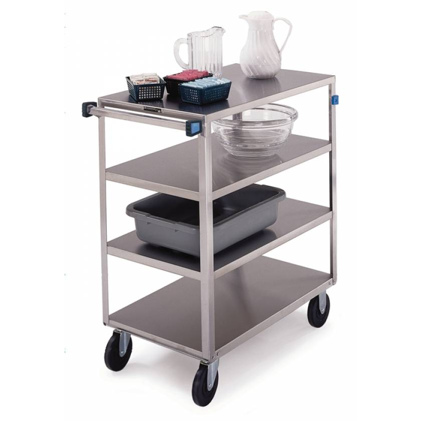 Lakeside SS Medium Duty Multi-Shelf Cart - All Edges Down - Front Leg Bumper - 4 Shelves