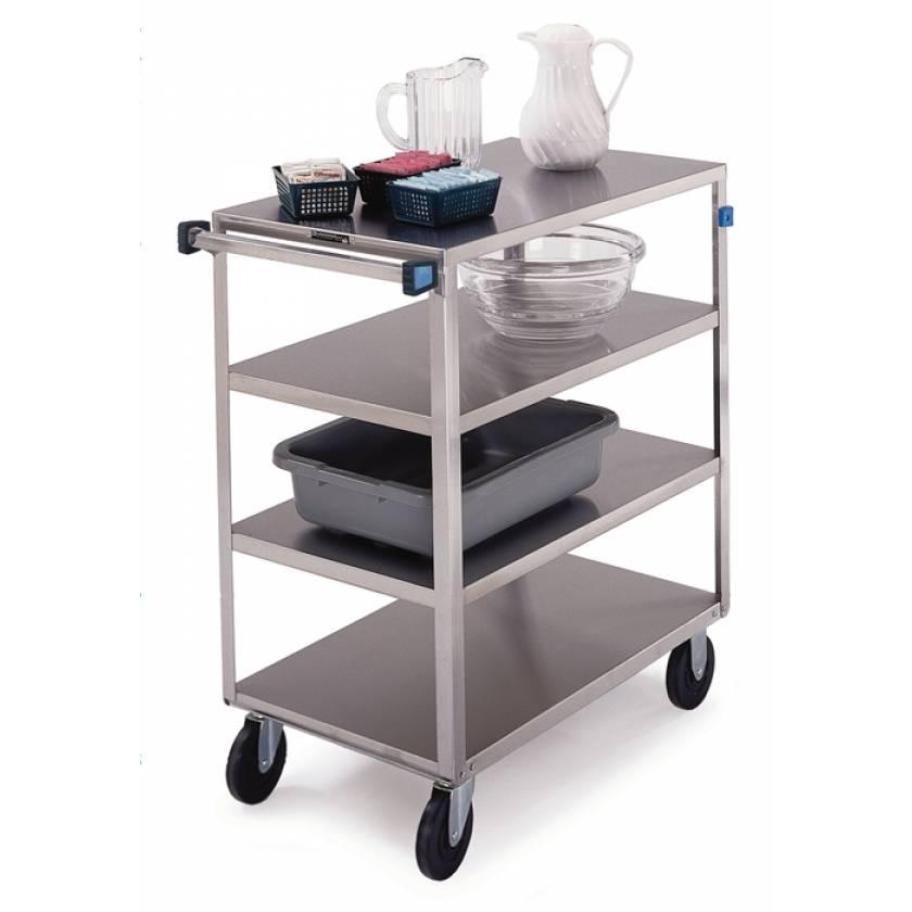 Lakeside SS Medium Duty Multi-Shelf Cart - 3 Edges Up 1 Down - Front Leg Bumper - 4 Shelves