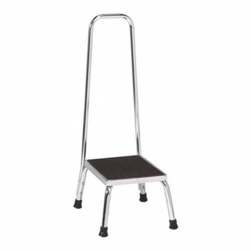 "Lakeside 9"" High Chrome Rigid Step Stool with Handrail"
