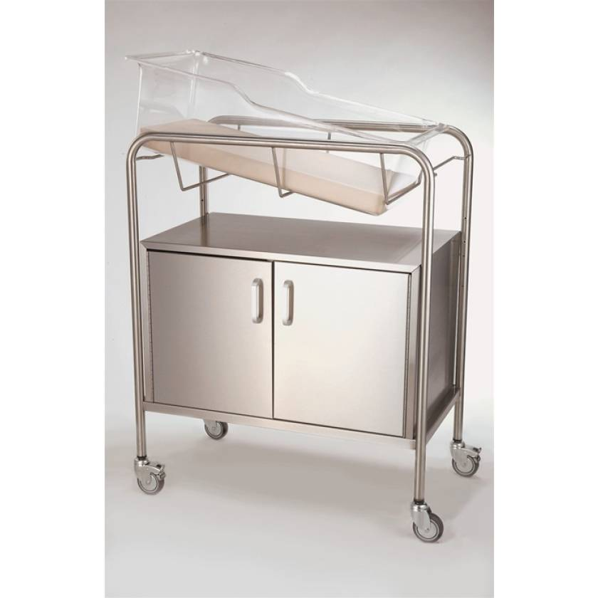 Stainless Steel Hospital Bassinet Carrier with 2-Door Cabinet