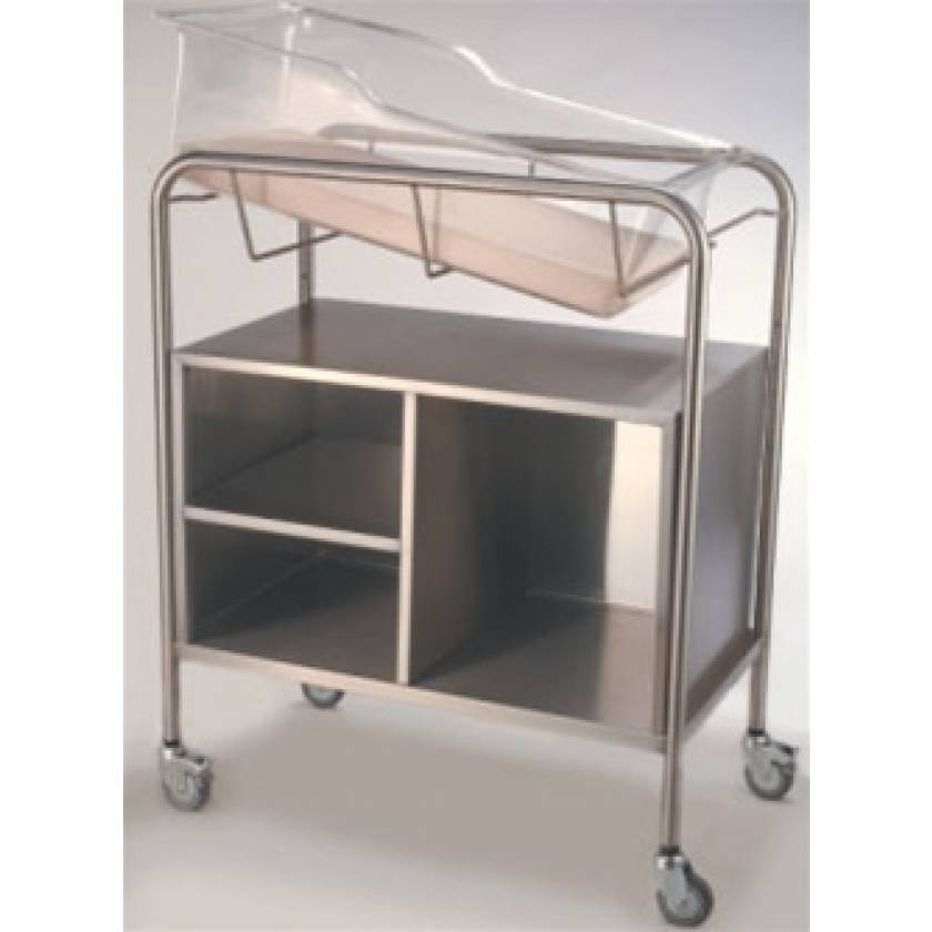 Stainless Steel Hospital Bassinet Carrier with Open Cabinet (No Doors)