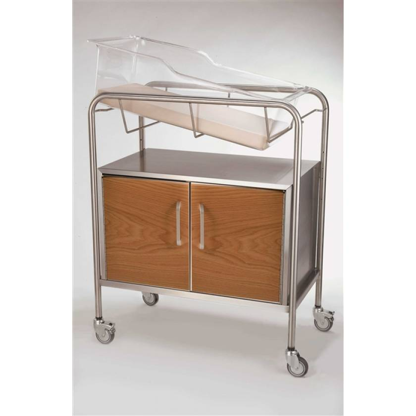 Stainless Steel Bassinet with Wood Front 2-Door Cabinet