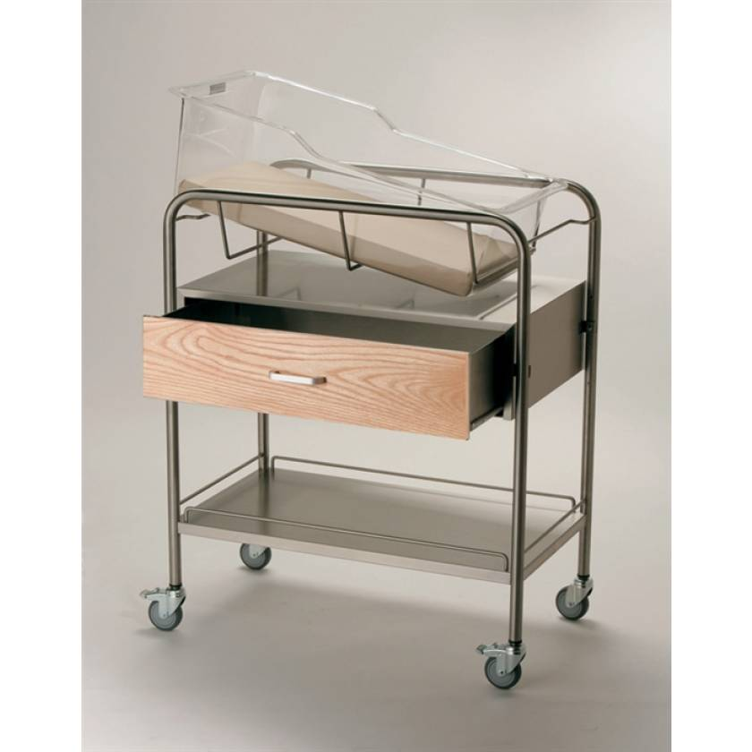 Stainless Steel Bassinet with Wood Front Drawer & Bottom Shelf