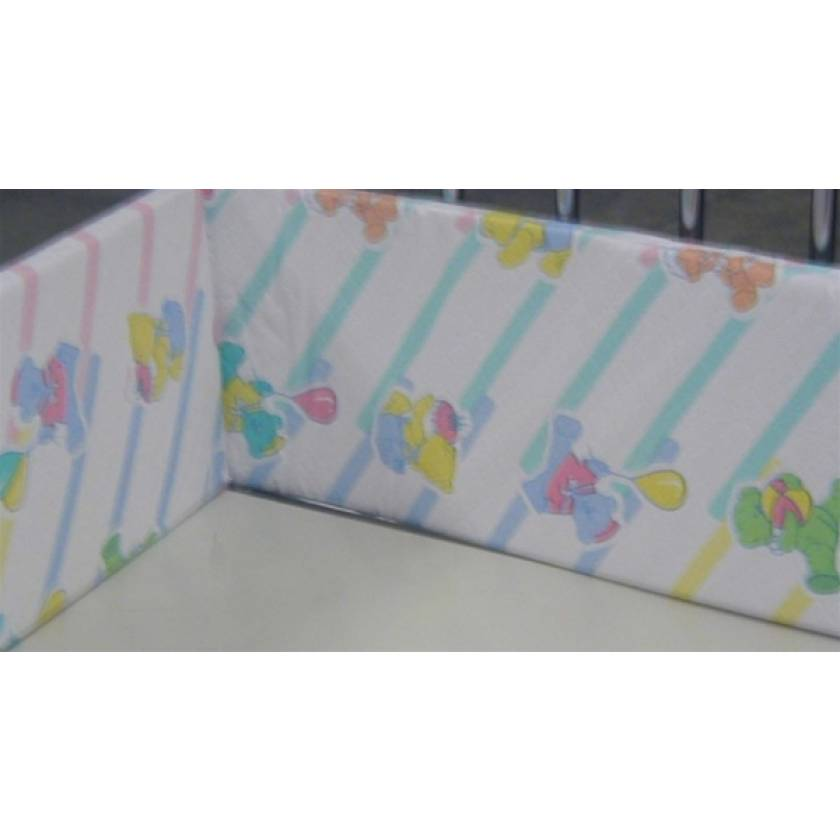 "Teddy Bear Foam Bumper Pad for 24"" W x 36"" L Neonatal Crib"