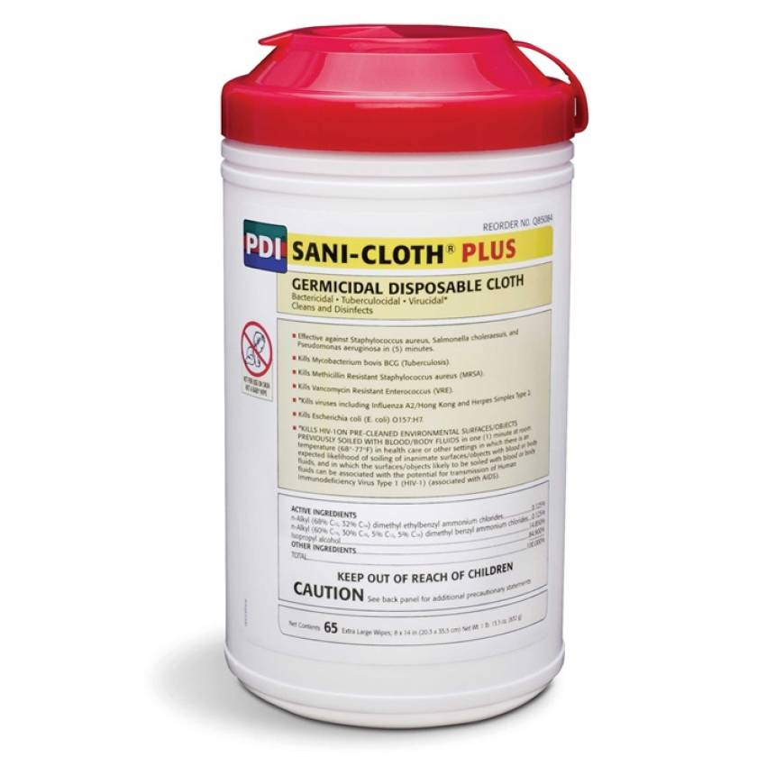 "Sani-Cloth Plus Germicidal Disposable Cloth - Wipe Size 8""x14"""