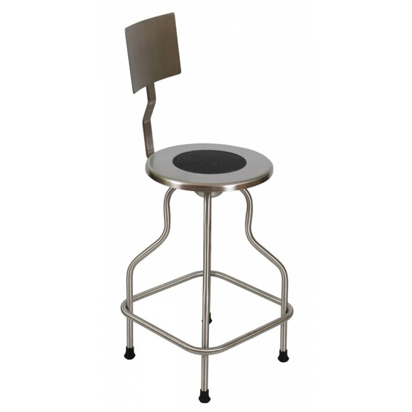 Stainless Steel Revolving Stool with Backrest