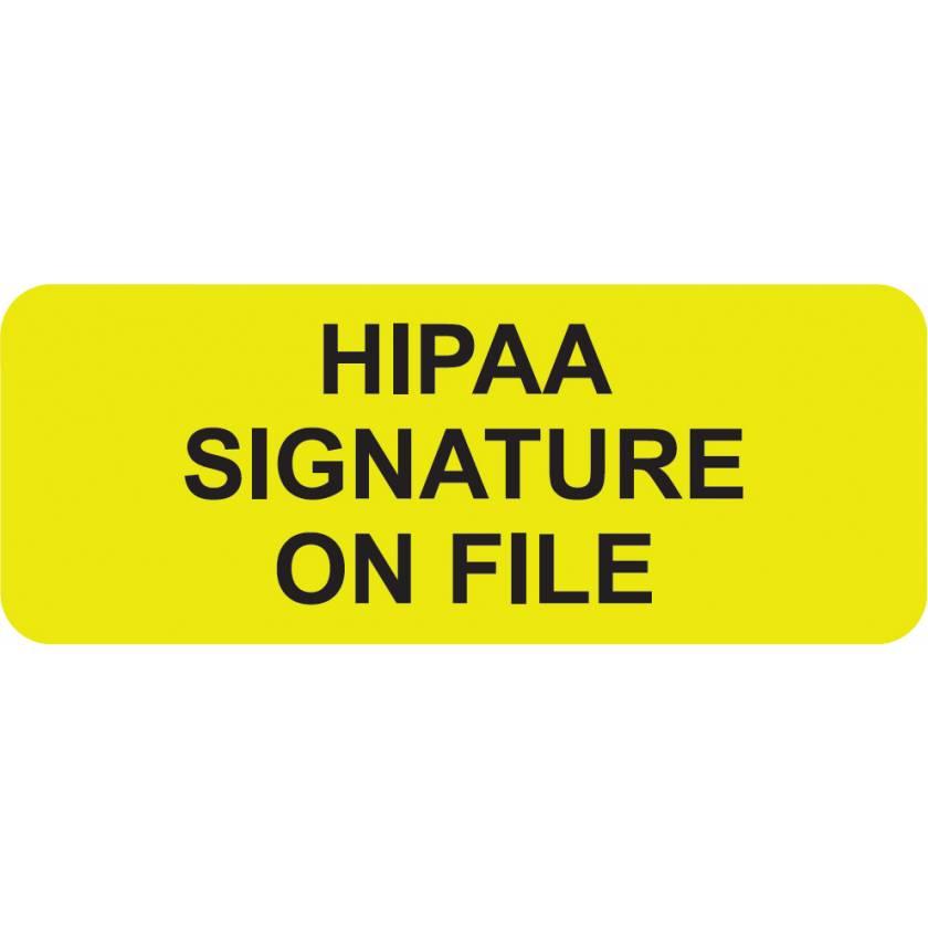 "HIPAA SIGNATURE ON FILE Label - Size 2 1/4""W x 7/8""H"