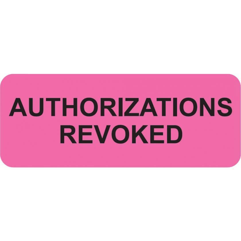 "AUTHORIZATIONS REVOKED Label - Size 2 1/4""W x 7/8""H"