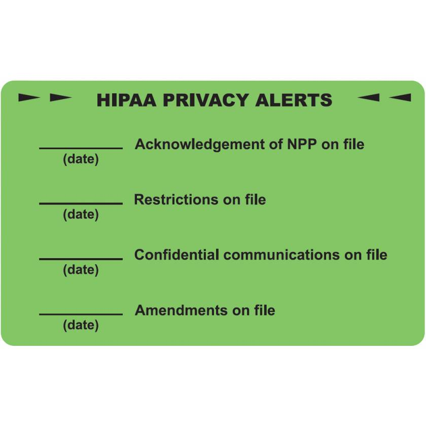 "HIPAA PRIVACY ALERTS Label - Size 4""W x 2 1/2""H"