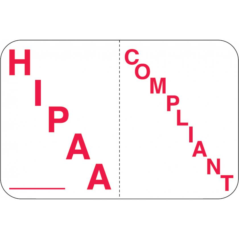"HIPAA COMPLIANT Label - Size 1 1/2""W x 1""H"