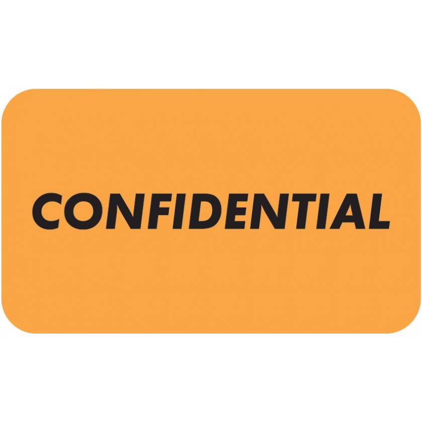 "CONFIDENTIAL Label - Size 1 1/2""W x 7/8""H - Fluorescent Orange"