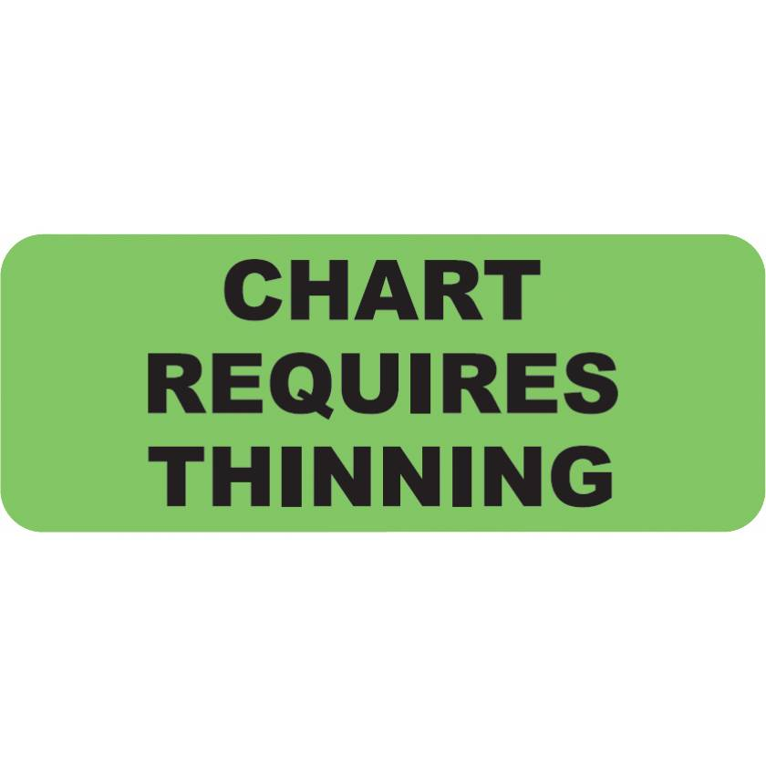 "CHART REQUIRES THINNING Label - Size 2 1/4""W x 7/8""H"