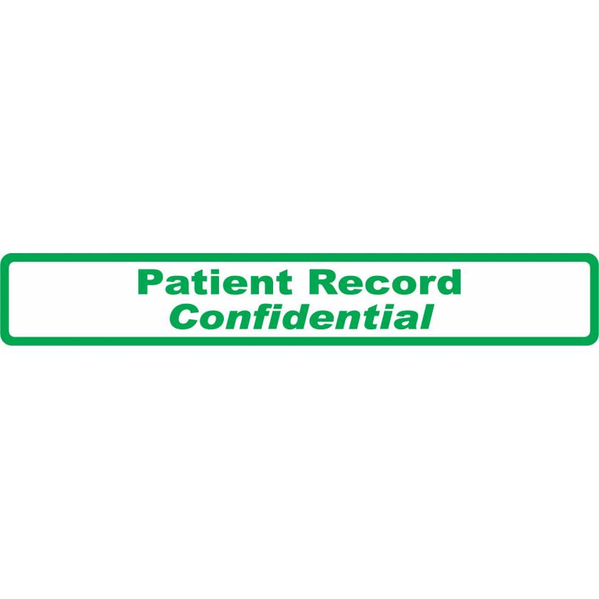 "PATIENT RECORD CONFIDENTIAL Label - Size 6 1/2""W x 1""H - Green on White"