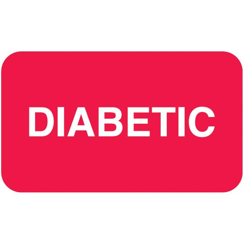"DIABETIC Label - Size 1 1/2""W x 7/8""H - Red"