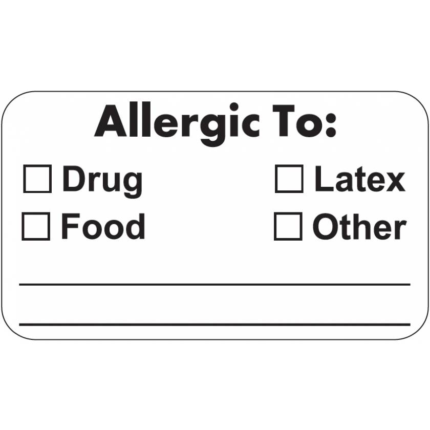 "ALLERGIC TO Label - Size 1 1/2""W x 7/8""H - Black on White"