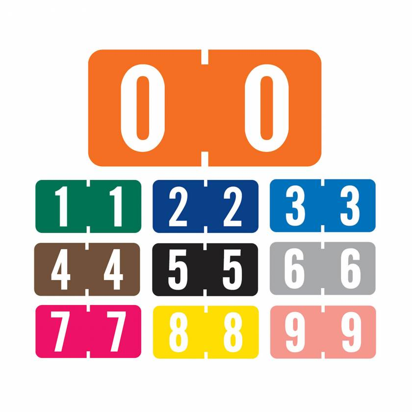 """Tab Products 1280 Match A1280 Series Numeric Color Code Roll Labels - 1/2""""H x 1""""W"""
