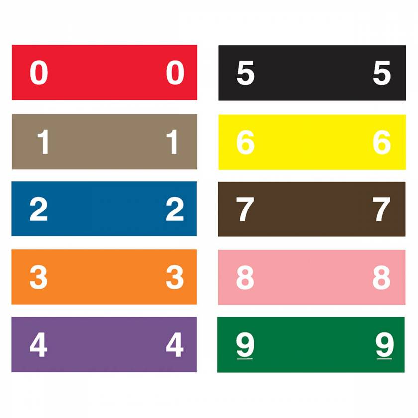 "AMES L-A-00134RB Match AENP Series Numeric Color Code Roll Labels - 1/2""H x 1 3/4""W"