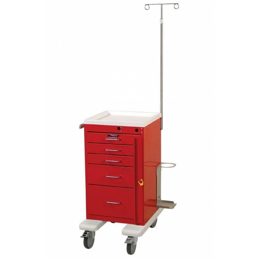 Harloff AL3245B-EMG Aluminum Mini Line Short Emergency Cart 5 Drawer Breakaway Lock & EMG Accessory Package