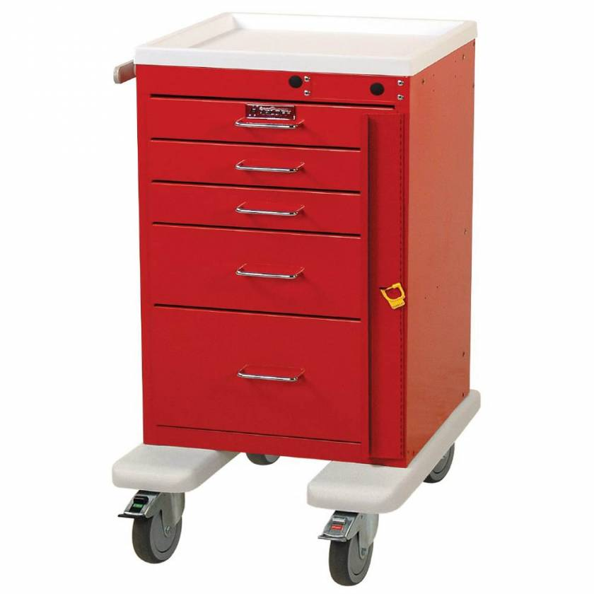 Harloff AL3245B Aluminum Mini Line Short Emergency Cart 5 Drawer Breakaway Lock