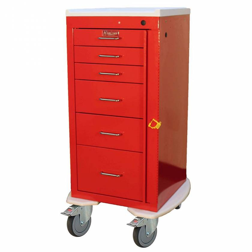 Harloff AL3256B Aluminum Mini Line Tall Emergency Cart 6 Drawer Breakaway Lock