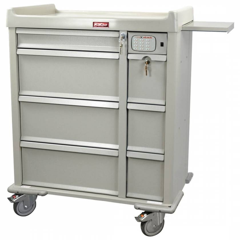Harloff AL460PC-EKC OptimAL Line Aluminum 460 Punch Card Medication Cart with CompX Electronic Lock, Single Wide Narcotics Drawer